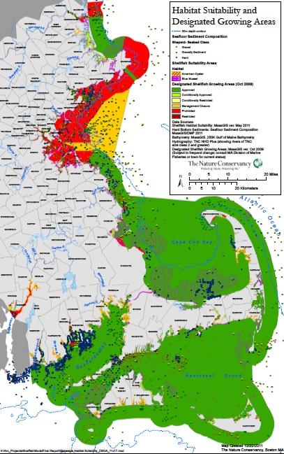 massachusetts shellfish restoration  habitat suitability and designated growing areas